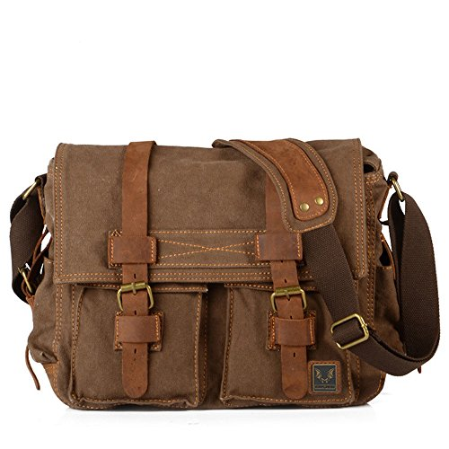 - 51ylC4QISjL - Tekon British Style Retro Mens Canvas Leather Messenger Traval Shoulder Travel Hiking Camping Bag