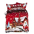 Santa Claus Christmas Reversible Duvet Set In Double and King Size