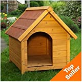 Wooden Dog Kennel - Sturdy & Attractive Outdoor Dog Kennel Made From Light, Finished Wood With a Wide Overhang Offering Protection From Adverse