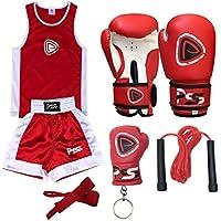 infantil Boxeo Uniforme 2 Piezas Set (Top & Corto) ROJO-BLANCO 7-8 AÑOS INFANTIL+Guantes Boxeo 4-oz (1008)
