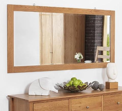 Edward Hopper large oak wall mirror (140cm wide). Oak frame, beveled glass mirror.