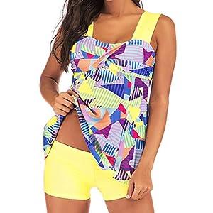 Damen Tankini Set Große Größe Bikini Hohe Taille Bedrucken Geteilter Badeanzug Sport Push Up Bademode Zweiteilige Strandkleidung