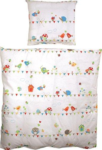 roba Wiegenbettwäsche 2-tlg, Wiegenset Kollektion 'Waldhochzeit', Baby Bettwäsche 80x80 (Decke & Kissen), 100% Baumwolle