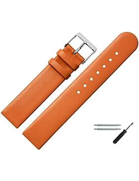Marburger Uhrenarmband 20 mm Leder Orange - Rindsleder - Inkl. Zubehör - Ersatzarmband, Schließe Silber - 7612046000120