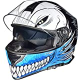 RT-824 Integralhelm Motorradhelm Kinderhelm Motorrad Integral Roller Helm rueger, Größe:L (59-60), Helmfarbe:Blue Hollow