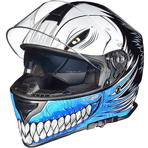RT-824 Integralhelm Motorradhelm Kinderhelm Motorrad Integral Roller Helm rueger, Größe:S (55-56), Helmfarbe:Blue Hollow