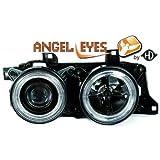 Design Scheinwerfer Set Schwarz - Angel Eyes - BMW 5er E32/ E34 ab BJ 1988 - 1995