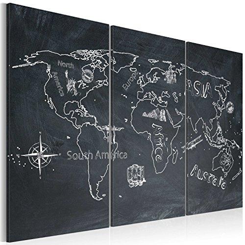 Bd xxl murando - quadro 120x80 cm - 3 parti - quadro su tela fliselina - stampa in qualita fotografica - mappa del mondo 020113-120