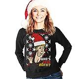 Hässlicher Weihnachtspullover mit Angie - Who's Your Mutti Frauen Sweatshirt Medium Schwarz