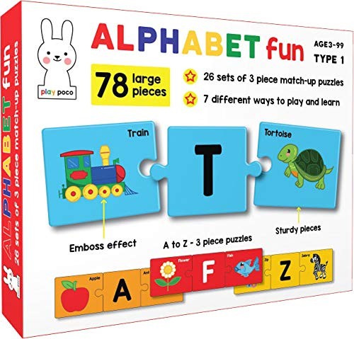 Play Poco Alphabet Fun Type 1 - 78 Piece Alphabet Matching Puzzle - 7 Different Ways to Play and Learn - Includes 78 Large Puzzle Cards with Beautiful Illustrations