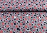 Excellenter Jersey Sternen Stoff Star Traum auf mittelgrau | Maße: 25 cm x ca. 145 cm | 1A ÖKO-TEX Qualität Standard |