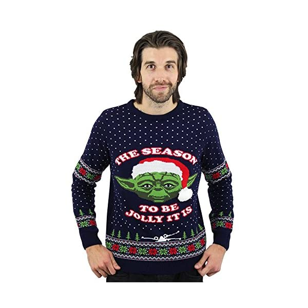 Ugly Sweater Christmas.Star Wars Official Master Yoda Christmas Jumper Ugly Sweater