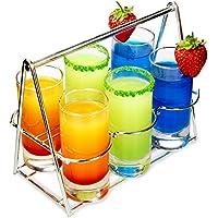 Shot cesta 7piezas degustación–vasos de chupito de acero inoxidable Transportador con 6vasos