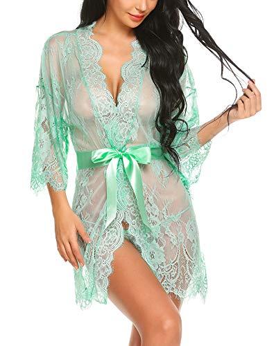 Avidlove Damen Kleid Gown Kurz Dessous Kimono Spitze Weiter Ärmel Transparente Robe Mesh mit Gürtel und G-String Bikini Cover up Spitze Sommer Bat Weiter Ärmel