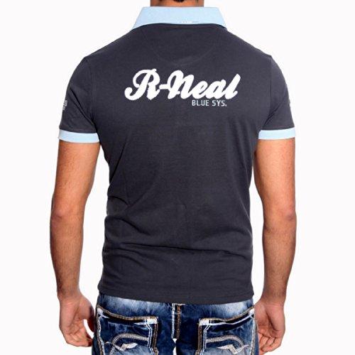 Herren Shirt Poloshirt Vintage Style Weiß Blau Gelb Marine Schwarz A6621RN Anthrazit