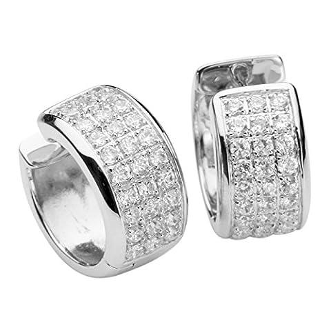 Silver Trends - Echte 925 Sterling Silber Rhodiniert Hochwertige Damen Pave Creolen mit Zirkonia Brilliant Schliff