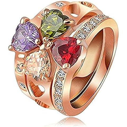 Alimab Gioielli Donne signore anelli di fidanzamento anelli di nozze amore anelli anelli d'oro oro placcato - Vintage Diamante Solitario