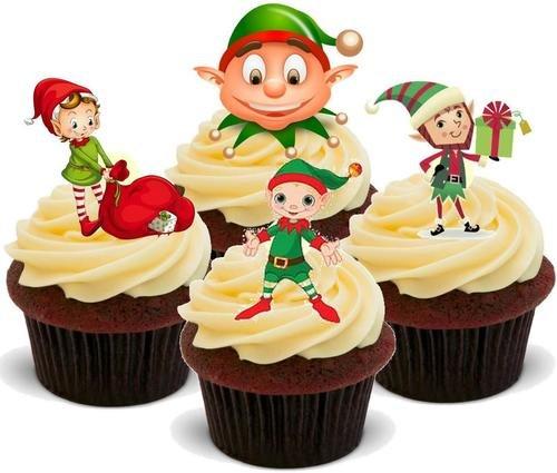 Weihnachtself Mix-12 essbare hochwertige stehende Waffeln Kuchen Toppers, Christmas elf mix- Standups 12 Edible Standup Premium Wafer Cake Toppers