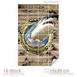 GRAZDesign Aufkleber Fliesen Bullauge - Fliesendekor Bad Hai - Badezimmer Fliesen Aufkleber Holzoptik - Fliesenaufkleber lustiges Motiv/Fliesenmaß: 15x20cm (BxH) / 767239_15x20_60