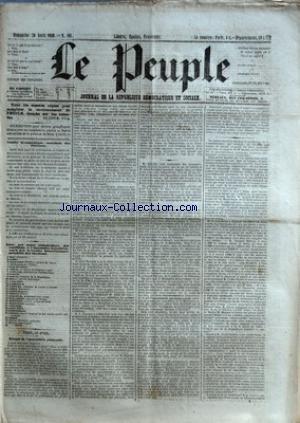 PEUPLE (LE) [No 161] du 29/04/1849 - COMITE DEMOCRATIQUE-SOCIALISTE DES ELECTIONS - MM. BAC - CARET - CHARASSIN - CONSIDERANT - D'ALTON-SHEE - DEMAY - GENILLER - GREPPO - HERVE - HEZAY - LAGRANGE - LAMENNAIS - LANGLOIS - LEBON - LEDRU-ROLLIN - LEROUX - MADIER DE MONTJAU - MALLARMEE - MONTAGNE - PERDIGUIER - PROUDHON - PYAT - RIBEYROLLES - THORE ET VIDAL - SEANCE DE L'ASSEMBLEE NATIONALE - MM. FELIX PYAT - FAUCHER -