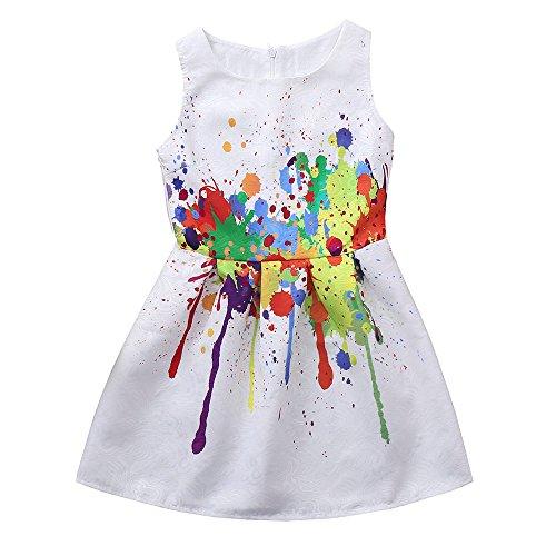 PLOT Flower Children Girls Princess Floral Printed Sleeveless Clothes Dresss 6-9 T