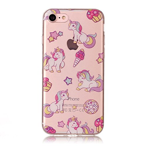 Coque Pour iPhone SE/5/5S,Coffeetreehouse Motif soft coloré de motif imprimé transparent mince TPU Protecteur Case Pour iPhone SE/5/5S(Design Cartoon Licorne) Cartoon Licorne