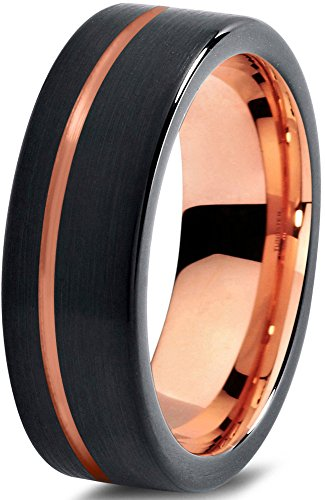 tungsten-wedding-band-ring-7mm-for-men-women-black-18k-rose-gold-pipe-cut-brushed-polished-lifetime-