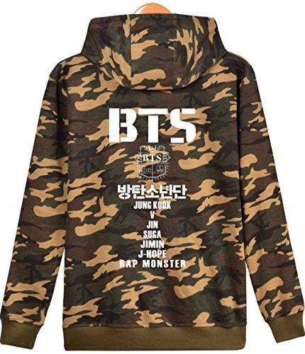 SERAPHY BTS Felpa con cappuccio BTS Unisex con maglietta felpata Bangtan Boys Suga Jin Jimin Jung Kook J-Hope Rap-Mostro V Camou