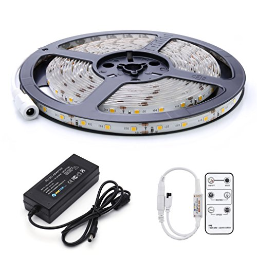 Auralum® Flexible 5M 36W SMD 2835*300 Leds IP65 Wasserdicht Warmweiß LED Streifen Strip Band inck. Fernbedienung & Netzteil