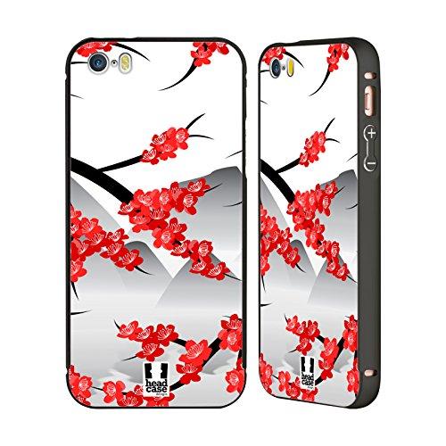 Head Case Designs Katze Verträumt Blüten Schwarz Rahmen Hülle mit Bumper aus Aluminium für Apple iPhone 5 / 5s / SE Berge