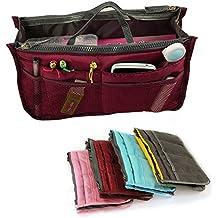 Yihya Donne Travel Organizer Bag Viaggiare Organizzatore Sacchetto Borsa Pouch con Doppia Zip Fodera Inserire Tasche Multiple Tidy Cosmetici Pouch Borsa --- ( Vino rosso )