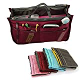 Yihya Mujer Travel Viajar Organizador Organizadores Bolsos con Insertar Forro Tidy Múltiples Bolsillos Bolsa Mejor Diseño de Cosmética Monedero Purse Handbag --- Vino tinto