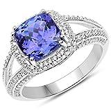 Ring 14 Karat (585) Weißgold 3,67 Karat echter Tansanit und weißer Diamant