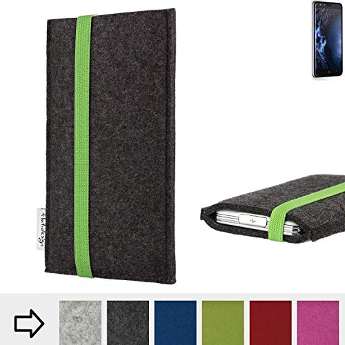flat.design Handy Hülle Coimbra für Doogee Y6 4G handgefertigte Handytasche Filz Tasche fair grün dunkelgrau