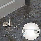 Komplett-SET - Duschrinne 90 cm AQUABAD® SDS Pro aus Edelstahl inkl. Haarsieb, Abgang waagerecht, befliesbare Mulde und Grundkörper-SET