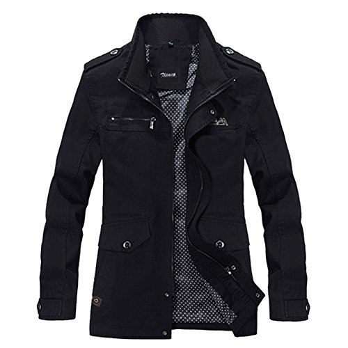 Zicac Men's Spring Autumn Military Slim Fit Long Sleeve Cotton Casual Lightweight Zipped Drawstring Jacket Parka Trench Coat Outerwear