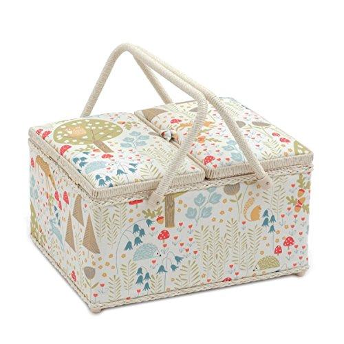Boîte à couture couvercle rectangulaire Hobby Gift « Wild Wood » double 24 x 31,5 x 19,5 cm (profondeur/largeur/hauteur)