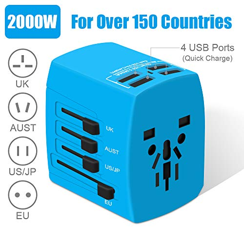 Reiseadapter, 2000W Universal Reisestecker, Travel Adapter mit 4 Quick Charge USB 3.0 Anschluss,...