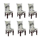 Nibesser 6×Stuhlhussen Stretch Stuhlbezug Dekoration Stuhlüberzug für Universelle Passform (Style 3)