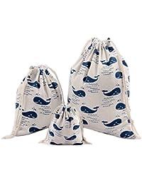 Abaría - 3 unidades bolsa de algodón con cuerdas – Pequeña saco bolsas - Bolsa inserto organizador para bebé ropa juguete pañales - Bolsa…