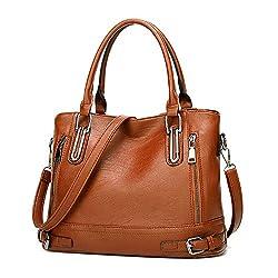 Damen Handtasche Leder Henkeltasche Top Griff Tasche Vintage Weiches Umhängetasche Schultertasche für Frauen (Orange Braun-b)