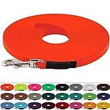 LENNIE BioThane Schleppleine 9 mm breit, 25 Farben/Neon Orange, 1-30 Meter / 10 m, genäht