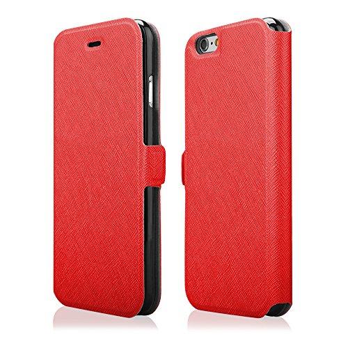 EGO® Kunstleder Flip Case SOFT für iPhone 6 Plus 6S Plus 5,5'', Blau mit Kreditkarten fächer Book Style Wallet Schutz Hülle Handy Cover Book Tasche Schale Etui Rot