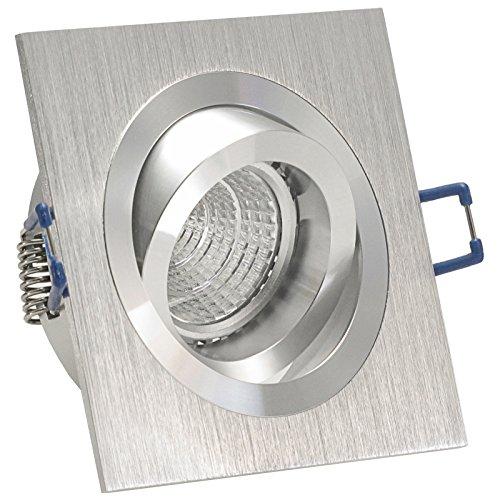Decken Einbauleuchte NOBLE Silber (auch in Schwarz); 230V (auch als 12V); quadratisch eckig (auch in rund); schwenkbar; OHNE Leuchtmittel; Aluminium; Einbaustrahler Einbauspot NOBLE 1
