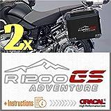 2pcs R 1200 GS BMW Motorrad R1200 ADVENTURE ADESIVI R1200GS for Touratech GIVI Trekker Outback Panniers (Bianco/Rosso)