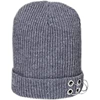 TENDYCOCO Adultos Sombrero de Punto de Invierno Puño Beanie Cap Gorro Bobble Warm Chunky Crochet Cap para Hombre Mujer Gris