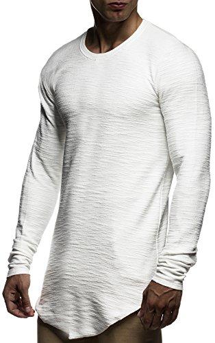 LEIF NELSON Herren Pullover Hoodie Sweatjacke Longsleeve Sweatshirt Jacke Basic Rundhals Langarm oversize Shirt Hoody Sweater LN6298 Ecru