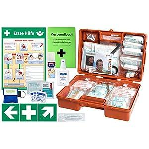 Erste-Hilfe-Koffer M5 PLUS für Betriebe DIN/EN 13157 & DIN/EN 13164 für KFZ – Komplett-Paket incl. Notfall-Beatmungshilfe + Hände-Antisept-Spray + Verbandbuch + Aushang 1.Hilfe + Sprühpflaster