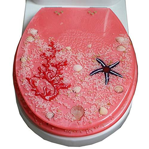 YANMMXL Mode Absteigend Harz WC Abdeckung Universelle Verdickung Echte Shell Kleine Steinproduktion,Pink