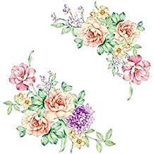 UU19EE peonía Flores Pared Pegatinas Arte casa decoración PVC extraíble Vinilo Pared calcomanías para niños Sala